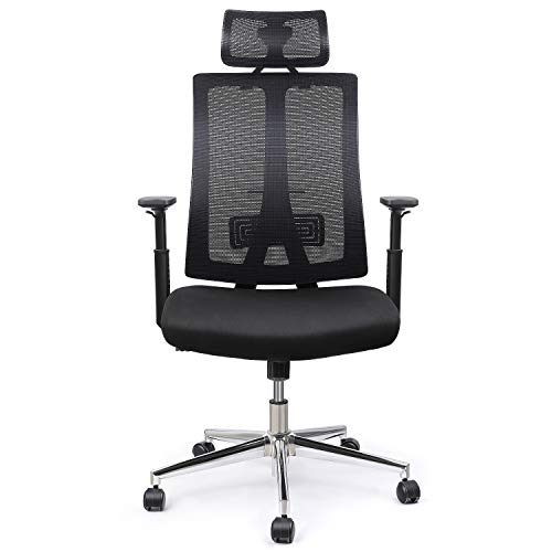 INTEY Ergonomic Office Chair, Mesh Chair, Adjustable Headrest Armrest/Lumbar Support, 28g/m3 Soft Cushion,Passed BIFMA/SGS Certification,Comfortable/Reliable, Black