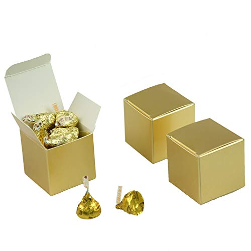 50PCS Gold Candy Boxes 2x2x2 inch,Gift Boxes,Cupcake Boxes,Square Gift Boxes, Candy Favor Boxes,for Birthday,Baby Showers,Engagement,Bridal Shower,Wedding,Anniversary,Graduation,Halloween,Christmas