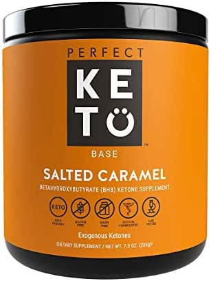Perfect Keto Exogenous Ketones: Base BHB Salts Supplement. Ketones for Ketogenic Diet Best to Support Weight Management & Energy, Focus and Ketosis Beta-Hydroxybutyrate BHB Salt (Salted Caramel)