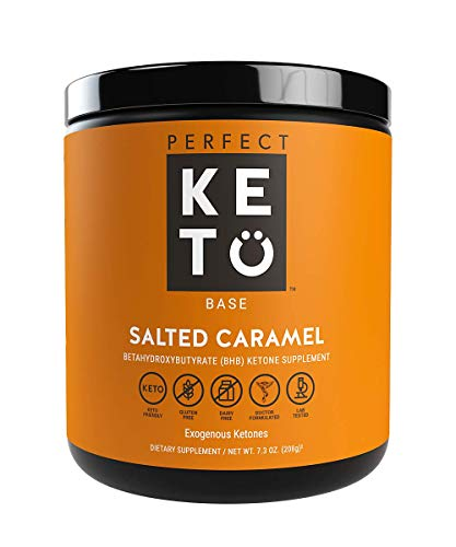 Perfect Keto Exogenous Ketones: Base BHB Salts Supplement. Ketones for Ketogenic Diet Best to Support Weight Management & Energy, Focus and Ketosis Beta-Hydroxybutyrate BHB Salt (Salted - Base Carmel