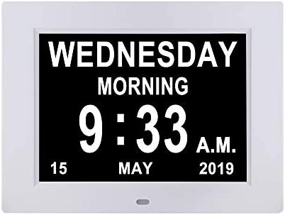 Remote Control Digital Day Calendar Clock 12 Alarms Non-Abbreviations Day Month Electronic Dementia Alzheimer Vision Impaired Memory Loss Desk Wall Clock
