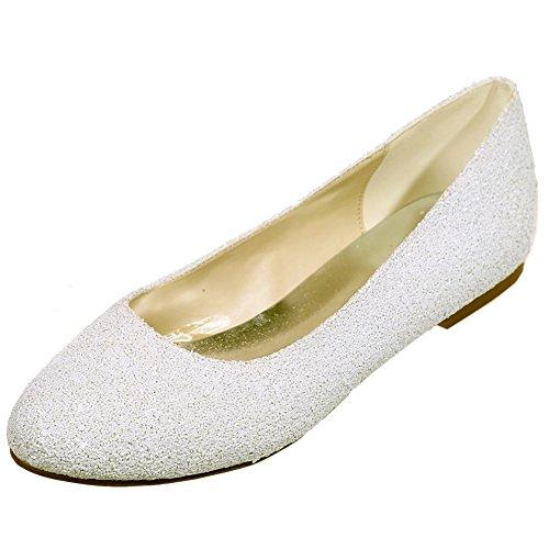 Loslandifen Femmes Étincelles Paillettes Appartements Élégant Bout Rond Mariage Ballet Chaussures De Mariée Ivoire / 9872-01a