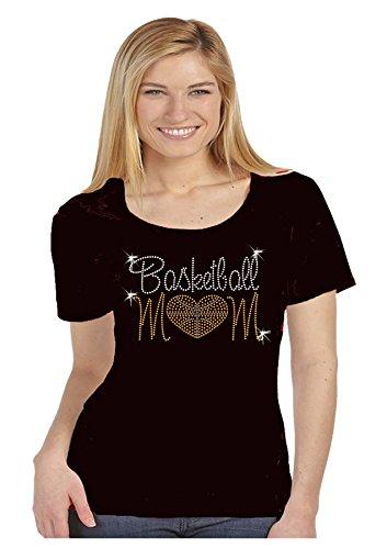Ladies Scoop Neck Rhinestone Tee (Basketball Mom Lets Go Rhinestone Scoop Neck Womens Tee Shirt (XXL))