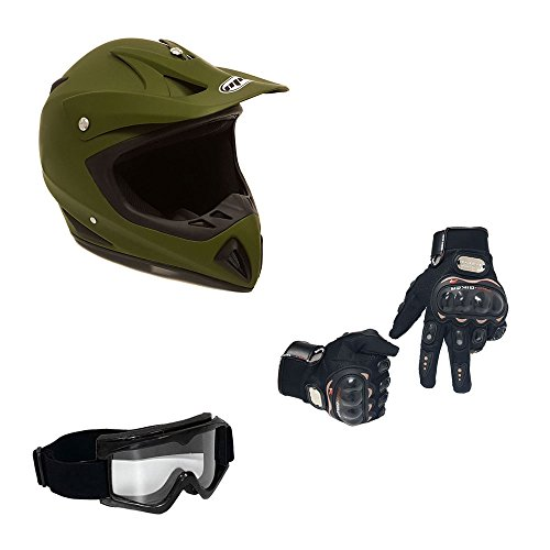 MMG 27 Combo Adult Motorcycle Off Road Helmet DOT, MX ATV Dirt Bike Motocross UTV, XL, Military Green, Includes Riding Gloves and Goggles