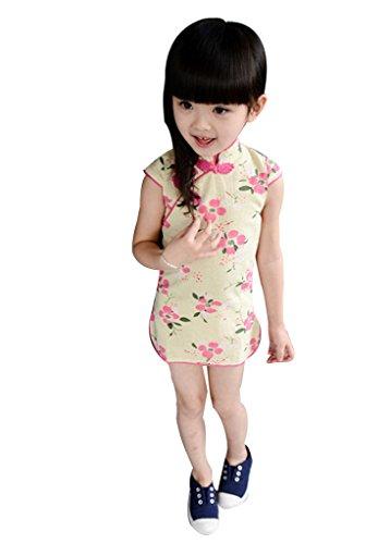 Remeehi Kids' Floral Chinese Cheongsam Dress Qipao Cotton & Linen Dress Plum Blossom 90 (Plum Blossom Princess Costume)