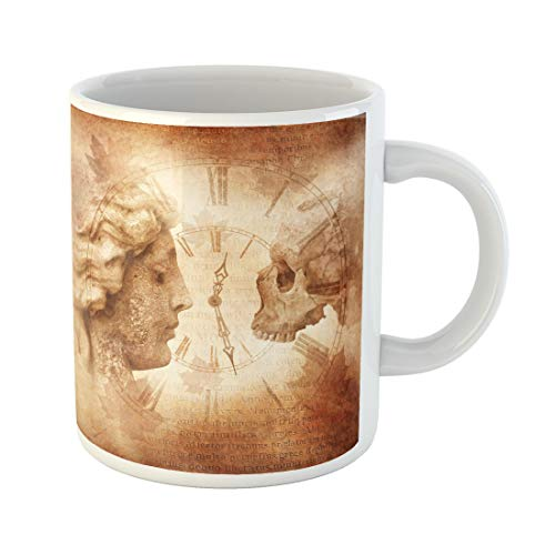 Semtomn Funny Coffee Mug Memento Mori Montage Female Profile Facing Skull Across Antique 11 Oz Ceramic Coffee Mugs Tea Cup Best Gift Or Souvenir