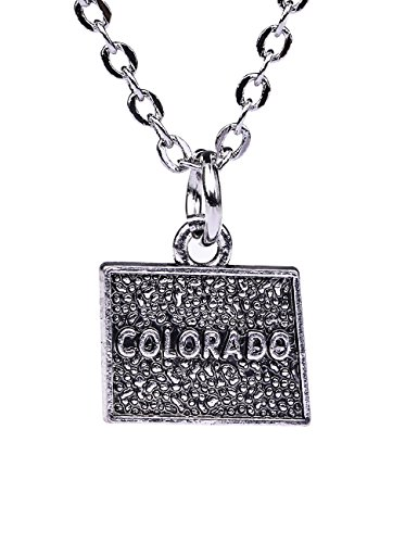 American Style Colorado State Map Pendant Necklace Jewelry for Man and Women (simple style) (Map Colorado Jewelry)