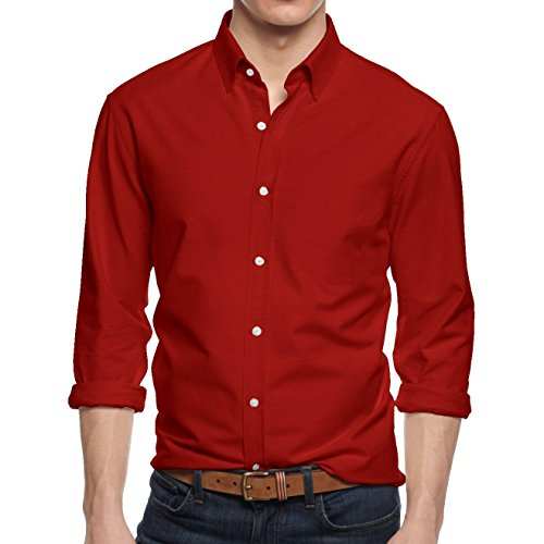 HB Men's Slim Fit Button Down Casual Long Sleeve Dress Shirt  - Small / 14-14.5 - Red