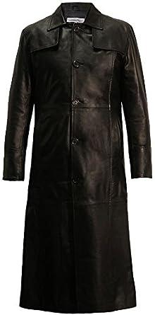 Long Length Leather Trench Coat in Black: Amazon.co.uk: Clothing