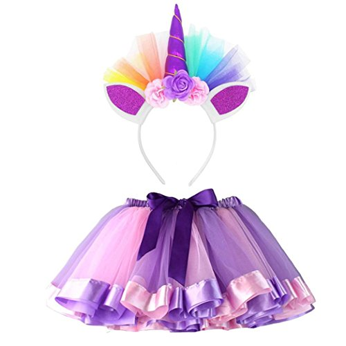 Boomboom Baby Girls Summer Dress Clearance Sale Girls Kids Ballet Costume Rainbow Layered Tutu Skirt+Hairband Sets (7T, Purple)