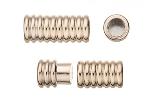 (2Pcs Swirl Tube Magnetic Jewelry Clasps Glue-In Ends - Platinum Finished Copper 9x20mm)