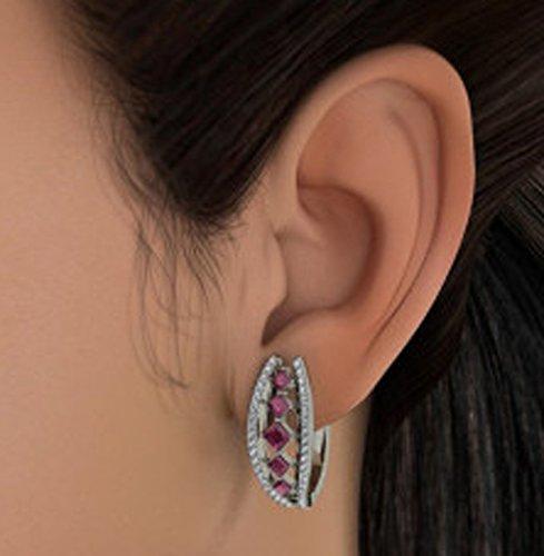 Or blanc 14K 0,4carat au total White-diamond (IJ | SI) et rubis Boucles d'oreilles créoles