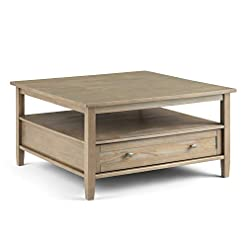 Farmhouse Coffee Tables SIMPLIHOME Warm Shaker SOLID WOOD 36 inch Wide Square Rustic Coffee Table in Distressed Grey, for the Living Room and… farmhouse coffee tables