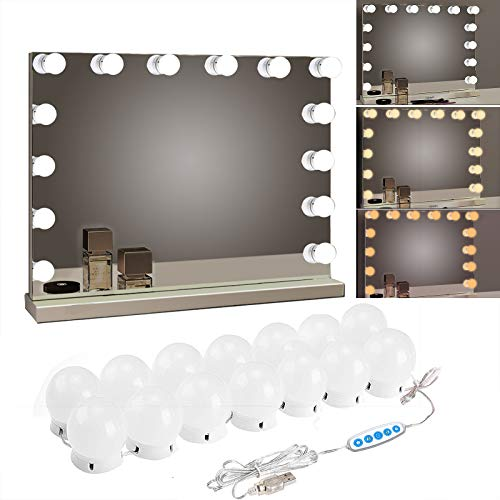 SICCOO Makeup Vanity Lights for Mirror, Hollywood Style LED Vanity Mirror Lights with 14 dimmable Bulbs, USB Cable…