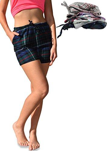 Sexy Basics Women's 3 Pack Soft & Light Cotton Woven Flannel Drawstring Lounge Shorts (3 Pack - Assorted Fashion Plaids, Medium)