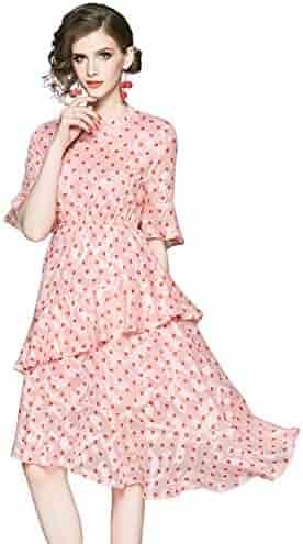 7cab3043659bd LAI MENG FIVE CATS Women's Summer Round Neck Floral Print Dress Casual Boho  A-line