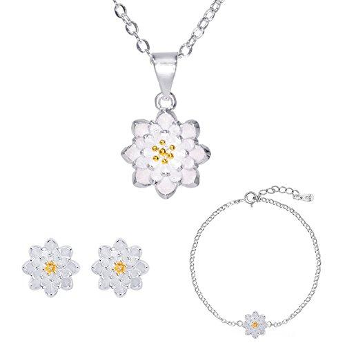 ISAACSONG.DESIGN 925 Sterling Silver Daisy/SAKURA/Snowflake Flower Crystal Pendant Necklace Earring Bracelets Ring Set for Women (Grace Love Pure Lotus Flower)