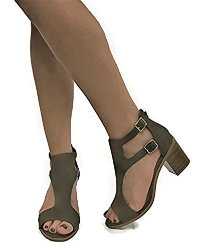 Sandal Buckle Heel Women's Stacked Open Soda Toe Double Olive Cutout wW8RZqaWP