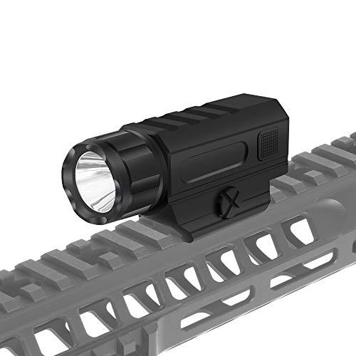 Tactical Gun Light Rail Mounted Weapon Light Flashlight with 1 x CR123A Battery Handgun Torch Light (Best Gun Mounted Torch)