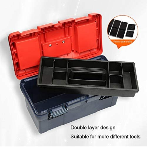 YCSX Portable Tool Box Tool Box with Removable Tool Tray and Black Handles Latches for Home Tool Storage Tool Storage and Organization (Size : 15 inches)