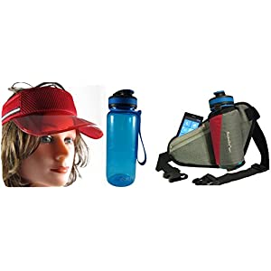 Sport Water Bottle 21 oz Waist Bag Sun Visor Cap - Bundle Set of 3. Sa-0002