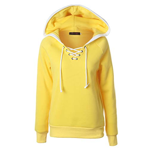 (Sunhusing Women's Solid Color Hooded Pullover Tops Cross Drawstring Lace-Up Jumper Hoodie Sweatshirt Yellow )