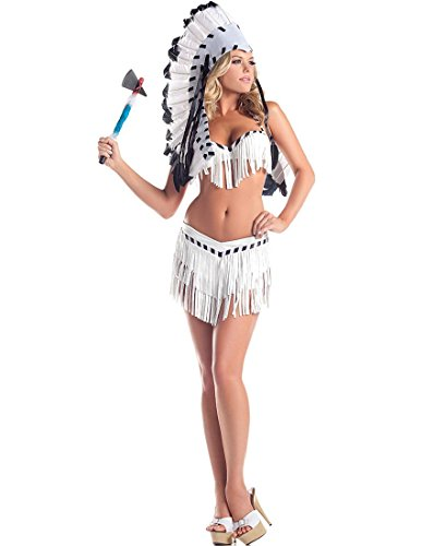 Be Wicked BW1409 Chief Indian Princess Sexy Adult Costume - Small/Medium - White/Black (Chief Indian Princess Costume)