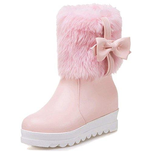 Nieve Otoño Moda Callejero Botas Botines Para Boots Pu Zapato De Martin Planas Mujer Cómodas Flat Rosado Cuero Minetom Invierno Shoes Pompones BdxHHg