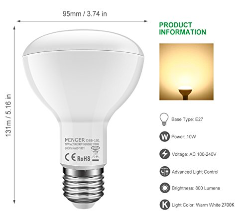 MINGER 10W Dusk to Dawn BR30 LED Bulb Light, Auto Turn On Off, 60W Equivalent, 800 Lumens Soft White 2700K, E27 Base, 120°Beam Angle Spotlight, for Indoor and Outdoor 2 Pack by MINGER (Image #1)