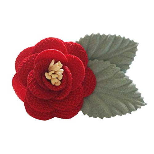 Sunny Home Men's Lapel Flower Handmade Boutonniere Pin for Suit (Red(Brooch Core Leaf))