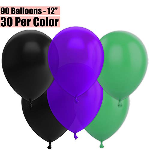 12 Inch Party Balloons, 90 Count - Black + Deep Purple + Jade Green - 30 Per Color. Helium Quality Bulk Latex Balloons In 3 Assorted Colors - For Birthdays, Holidays, Celebrations, and More!!