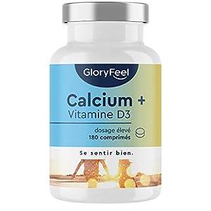 Calcium Vitamine D, 1000mg Carbonate de Calcium + Vitamine D3 1000 UI, 180 Comprimés (3 Mois), Maintien d'Os, de Dents…