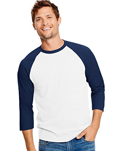 Navy Mens Tee - Hanes Unisex X-Temp Performance Baseball Tee, 42BA, S, White/Navy