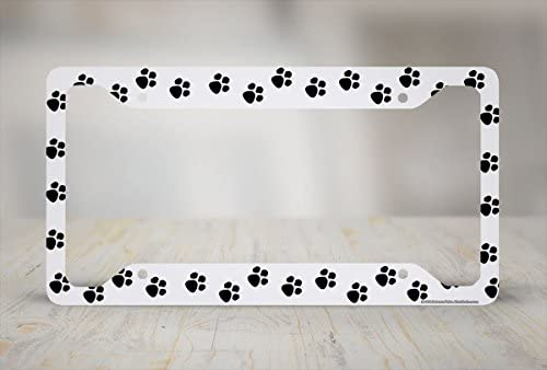 Dog Cat Animal White with Black PAW PRINTS Plastic License Plate Frame