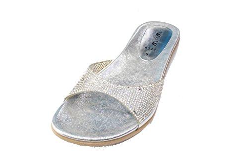 W&W Women Ladies Evening Fashion Sandal Slip On Comfort Lightweight Flat Diamante Shoes Size(WISH) Silver wguRjwd
