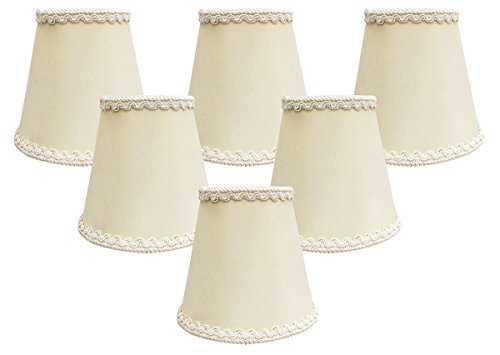 Royal Designs, Inc CSO-1039-5EG-6 Royal Designs Empire Chandelier Lamp Shade with Decorative Trim, 3'' x 5'' x 4.5'', Clip-on-Set of 6, Eggshell, 6 Piece by Royal Designs, Inc