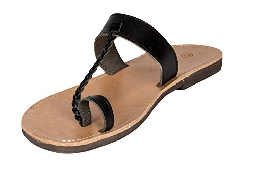 Ciffre Hecho a Mano Superior de Tiras de Cuero Genuino de La Sandalia de Grecia Creta EN Negro Beis Marron Tamaño 36-47 Negro