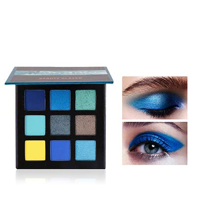 Beauty Glazed New Fashion Cosmetics 9 Colors Shimmer Eyeshadow Cream Matte Glitter Eye Shadow Palette Natural Waterproof Long Lasting Pigmented Eyeshadow Powder # 03 Noble Blue