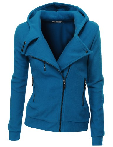 Doublju Women's Fleece Zip-Up High Neck Jacket, PWD005_Blue, Small ...