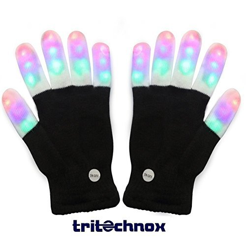 #1 Premium quality LED Lighting Gloves, Flashing fingers, Rave gloves, colorful gloves, light show by TRITECHNOX