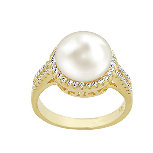 Evan Jewels, EV5-5014 Cultured Freshwater Pearl Ring in Sterling Silver (G-7) -