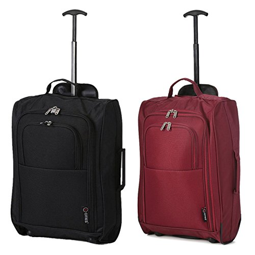 Set of 2 21'/55cm 5 Cities Cabin Approved Hand Luggage Lightweight Trolley Bags for Ryanair/Easyjet