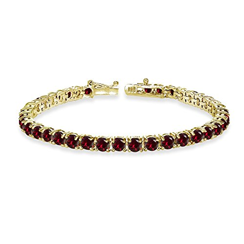 (Yellow Gold Flashed Sterling Silver 4mm Created Ruby Round-cut Tennis Bracelet)