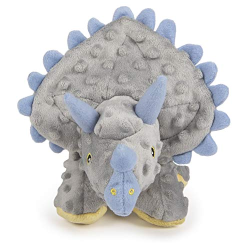 goDog Dinos Triceratops With Chew Guard Technology Tough Plush Dog Toy, Grey, Large (Dinosaur With Horn On Back Of Head)