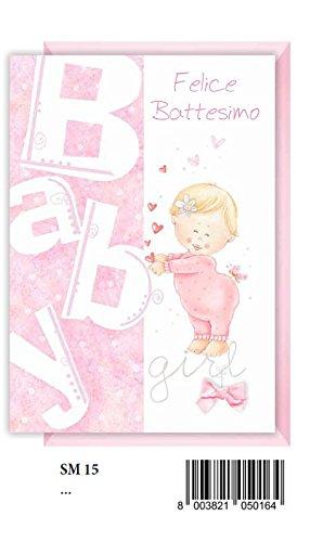Tarjeta Felicitación bautizo rosa niña con corazones: Amazon.es: Hogar