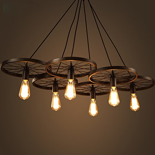 Electro_BP Antique Metal Art Large Barn Pendant Light Max 360W With 6 Lights Black Finish (Light Pendant Large Six)