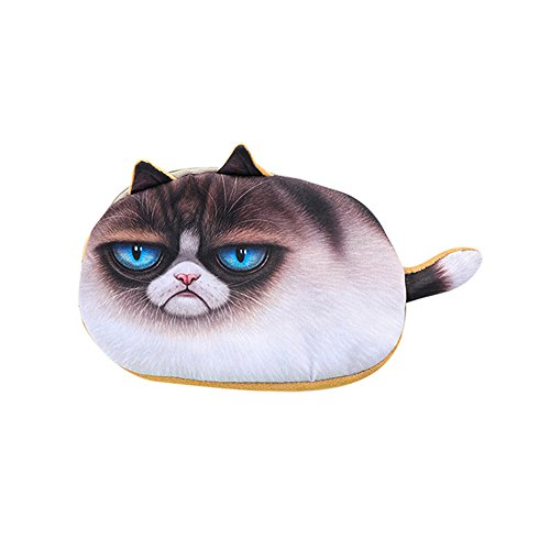 charmsamx Cute Kids Pencil Pen Case Cartoon Cat Face Pencil Storage Pouch Marker Office Stationery Bag Holder Coin Pouch School Supplies Organizer for Middle High School Primary Students from charmsamx