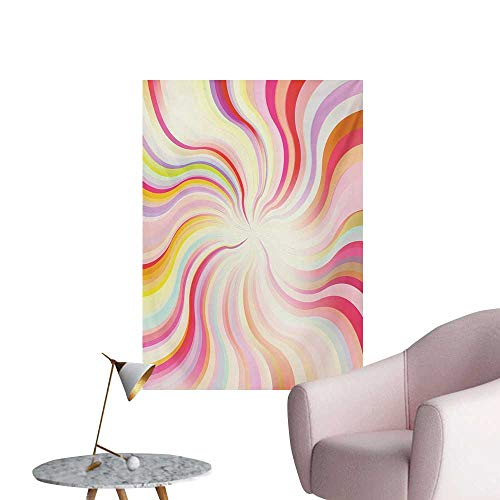 Anzhutwelve Pastel Wall Sticker Decals Abstract Sunburst Design Wavy Lines Sixties Seventies Style Psychedelic Retro RaysMulticolor W24 xL36 Space Poster (70s Retro Wallpaper)
