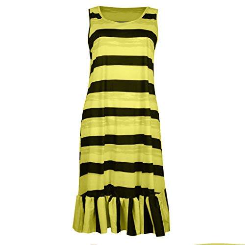 Hopeg Women Newest Plus Size Loose Sleeveless Dress - Striped Print Casual Beach,go -