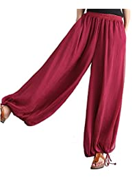 Women's 2017 Casual Loose Fit Wide Leg Linen Pants with Pockets